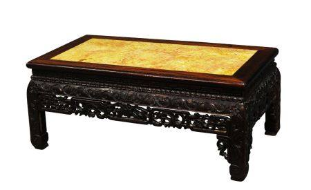 A Chinese hardwood low table, kang, late 19th century, the rectangular rouge marble inset top