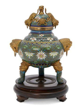 A Chinese gilt metal and cloisonné tripod censer, 20th century, the cover applied with gilt metal
