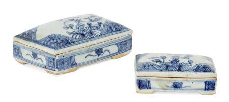 Two Chinese porcelain rectangular funerary boxes and covers, mid-19th century, each painted in