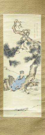 A collection of four Chinese painting of sages and scholars in landscapes, contemplating pine,