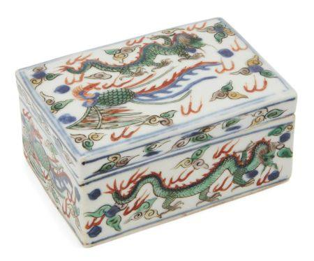 A Chinese porcelain wucai phoenix and dragon box and cover, 20th century, painted with dragons and