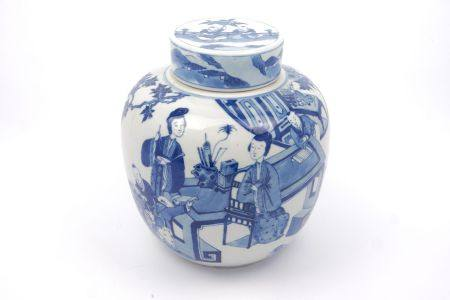 A Chinese porcelain blue & white ginger jar and cover, decorated in the Kangxi taste, of recent