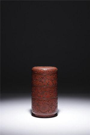 明 剔紅樓閣人物四重盒
