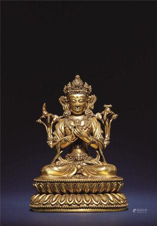 明 銅鎏金文殊菩薩像