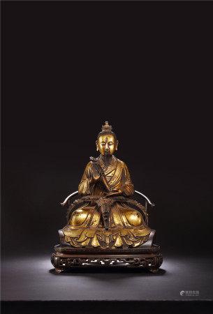明 銅鎏金元始天尊座像