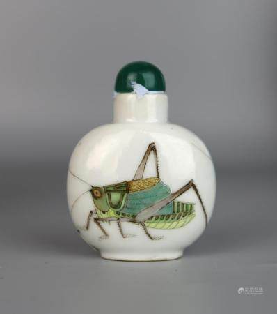 A Chinese Famille Rose Snuff Bottle Painted with Grasshopper