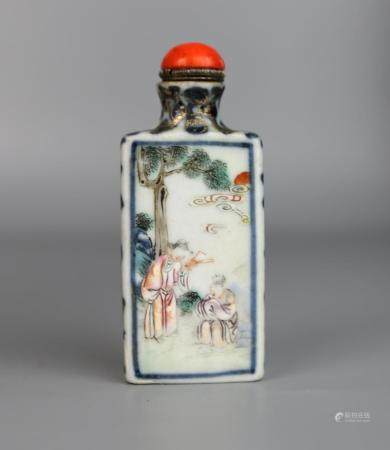A Chinese Blue & White Famille Rose Snuff Bottle, Jiaqing Ma