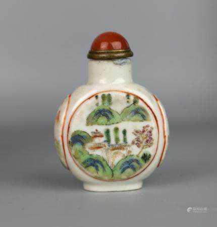 A Chinese Famille Rose Landscape Snuff Bottle, Daoguang Mark