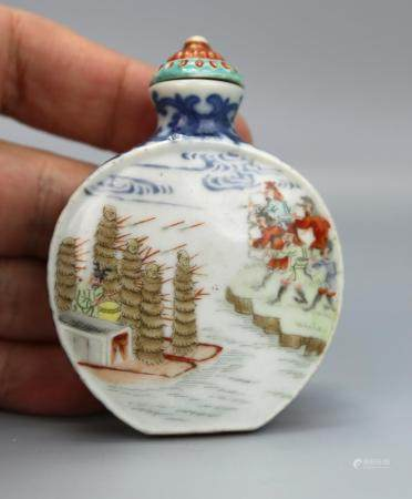 A Chinese Blue & White Famille Rose Snuff Bottle, Qianlong M