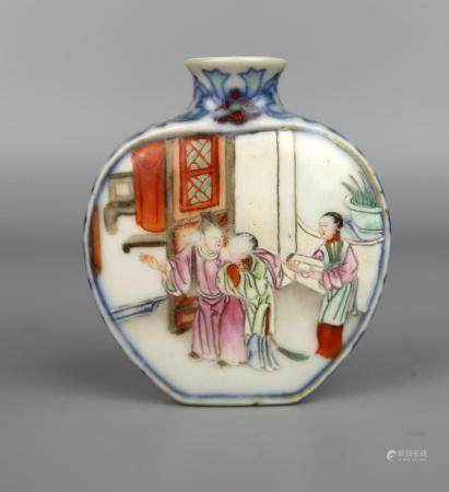 A Chinese Famille Rose, Blue & White Snuff Bottle, Qianlong