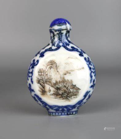 A Chinese Grisaille, Blue & White Snuff Bottle, Qing Dynasty