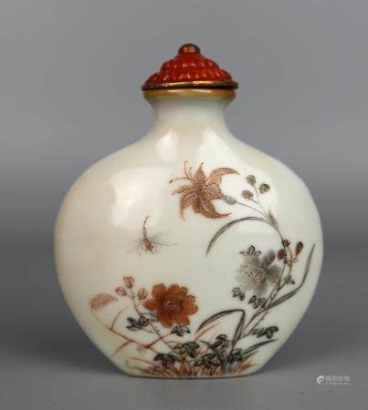 A Chinese Falangcai Snuff Bottle Painted with sparrows, Qing