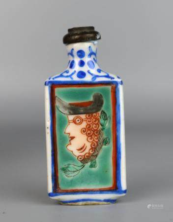 A Chinese Famille Rose Snuff Bottle Painted with Western Fig