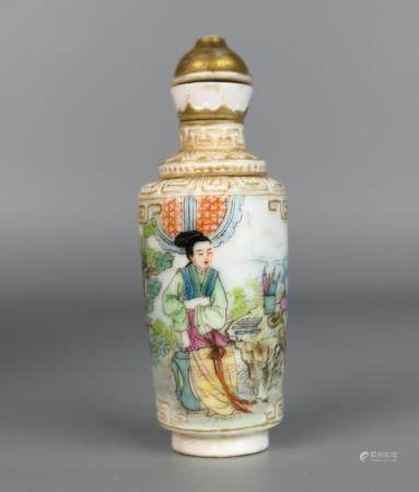 A Chinese Snuff Bottle Painted with Dream of the Red Chamber