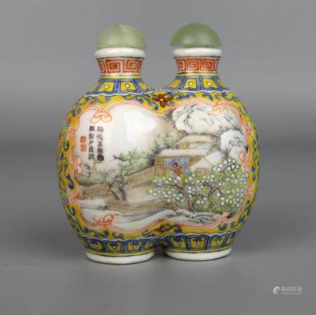 A Chinese Falangcai Double Bottle Shaped Snuff Bottle, Qing