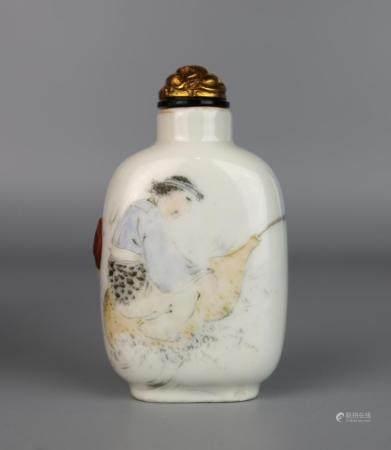 A Chinese Qianjiang Glazed Snuff Bottle, Signature of Zhang