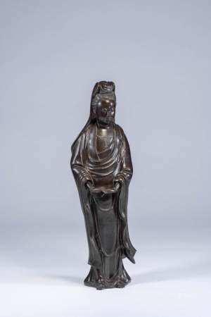十八世紀 銅崁銀「五金石叟」銘文觀音立像