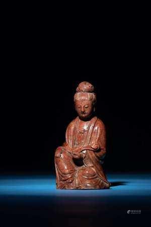清末民初 壽山石雕「元水」款持如意觀音
