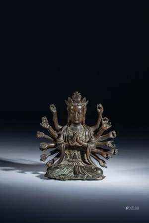 清初 十八臂準提佛母銅像
