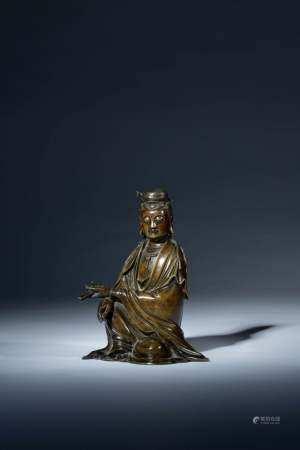 明 銅雕持經觀音