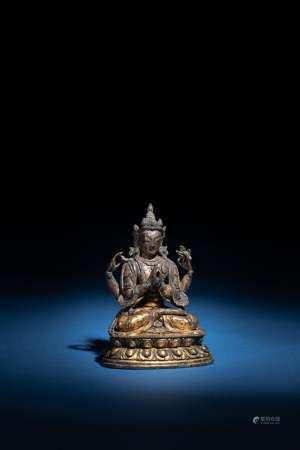 十八世紀 銅鎏金四臂觀音
