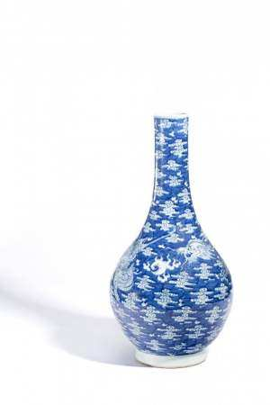 清 青花龍鳳紋膽瓶
