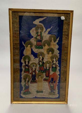 JAPON. Divinités bouddhiques dans les nuées, papier. 51 x 25,5 cm. Pliures.