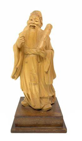 Wooden sculpture of a Chinese wiseman, China, eighteenth century. H 17 cm, 2.4 cm with pedestal.