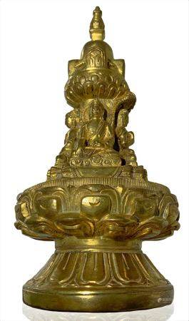Chinese sculpture in gilted bronze stupa with four small Buddha on lotus pedestal, topped by a