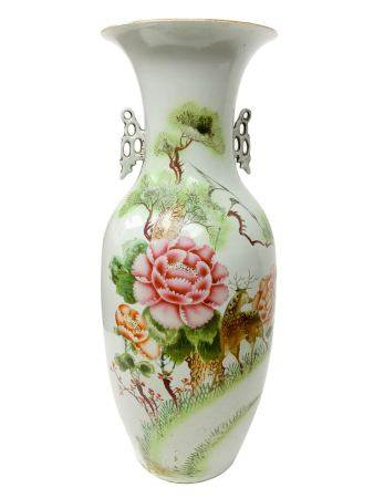 Chinese porcelain vase depicting floral decoration on the front, on the back of written Chinese. H