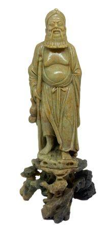 """Chinese soapstone statuette depicting Jurojin """"God of old age,"""" one of the Seven Sages. Beijing."""