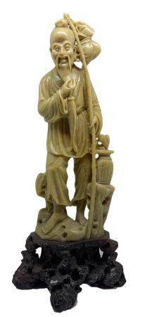 """Chinese soapstone statuette depicting God Ebisu """"God of the richness of the sea and fishing"""" one of"""