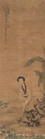 改琦(1773~1828)  蕉下仕女 立轴 设色绢本