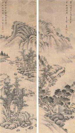 翟大坤(?~1804)  山水 双幅 立轴 水墨纸本