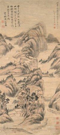 杨沂孙(1764~1845 ) 钱杜  秋山云霭图 立轴 设色纸本