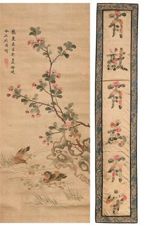 刺绣 书法 湘琴 花鸟 (二幅)