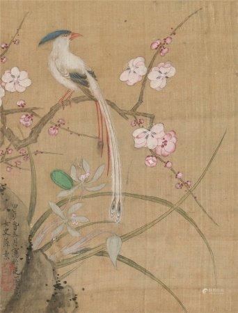 薛素(1573~1620)  绶带 立轴 设色绢本