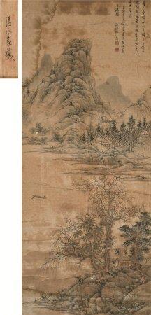 文从简(1574~1648)  渔江秋景山水图 立轴 设色纸本