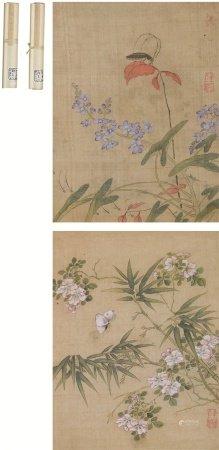 薛素(1573~1620)  花卉草虫 双幅 立轴 设色绢本