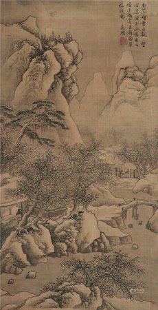 文徵明(1470~1559)  雪景山水 立轴 设色绢本