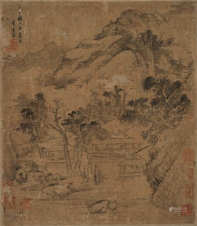 董其昌(1555~1636)  深山茅屋 镜心 水墨绢本