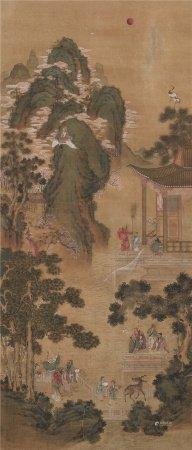 仇英(1498~1552)  群僊祝寿 立轴 设色绢本