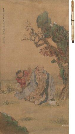 吴小僊(1459~1508)  罗汉 立轴 设色绢本