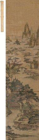 文徵明(1470~1559)  山水 立轴 设色绢本