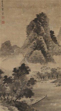 董其昌(1555~1636)  山水 立轴 水墨纸本