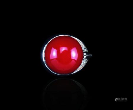 铂金珊瑚钻石戒指