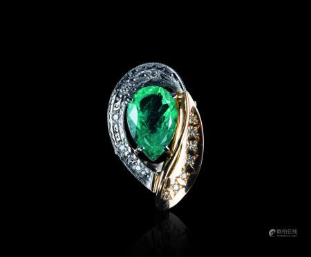 铂金18K金祖母緑戒指