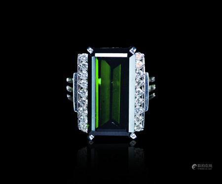 铂金碧玺钻石戒指