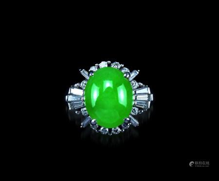铂金翡翠鑚石戒指