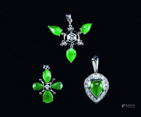 铂金翡翠钻石吊坠 (三件)